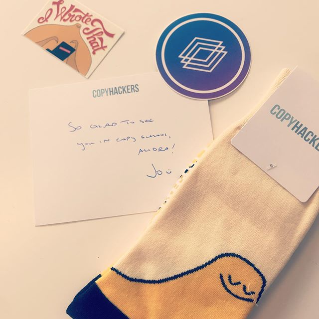 Got the cutest surprise in the mail today! Thank you @copyhackers for the fun swag. 😍😍😍