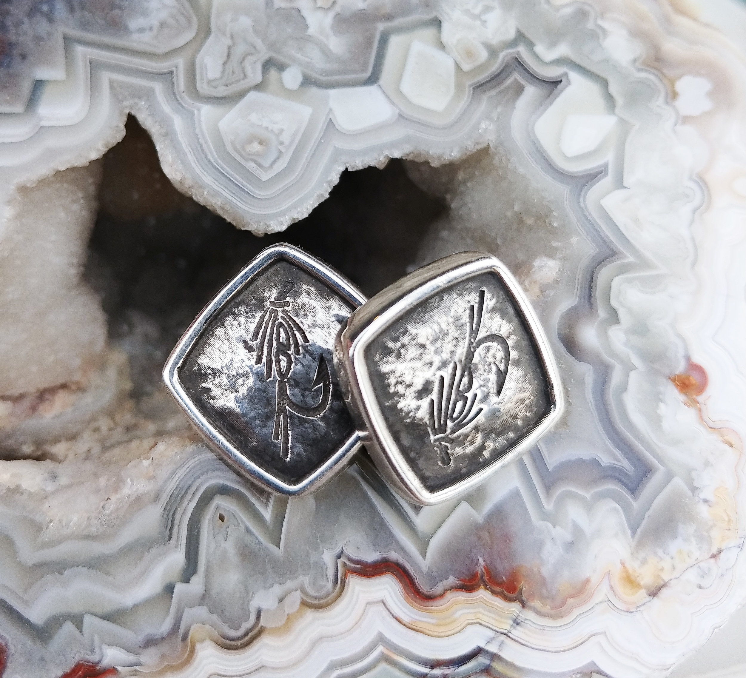 #13478 Sterling Silver Cuff-Links Stephen Isley Custom Design Featuring Fly-Fishing Hooks  Contact Us For Pricing