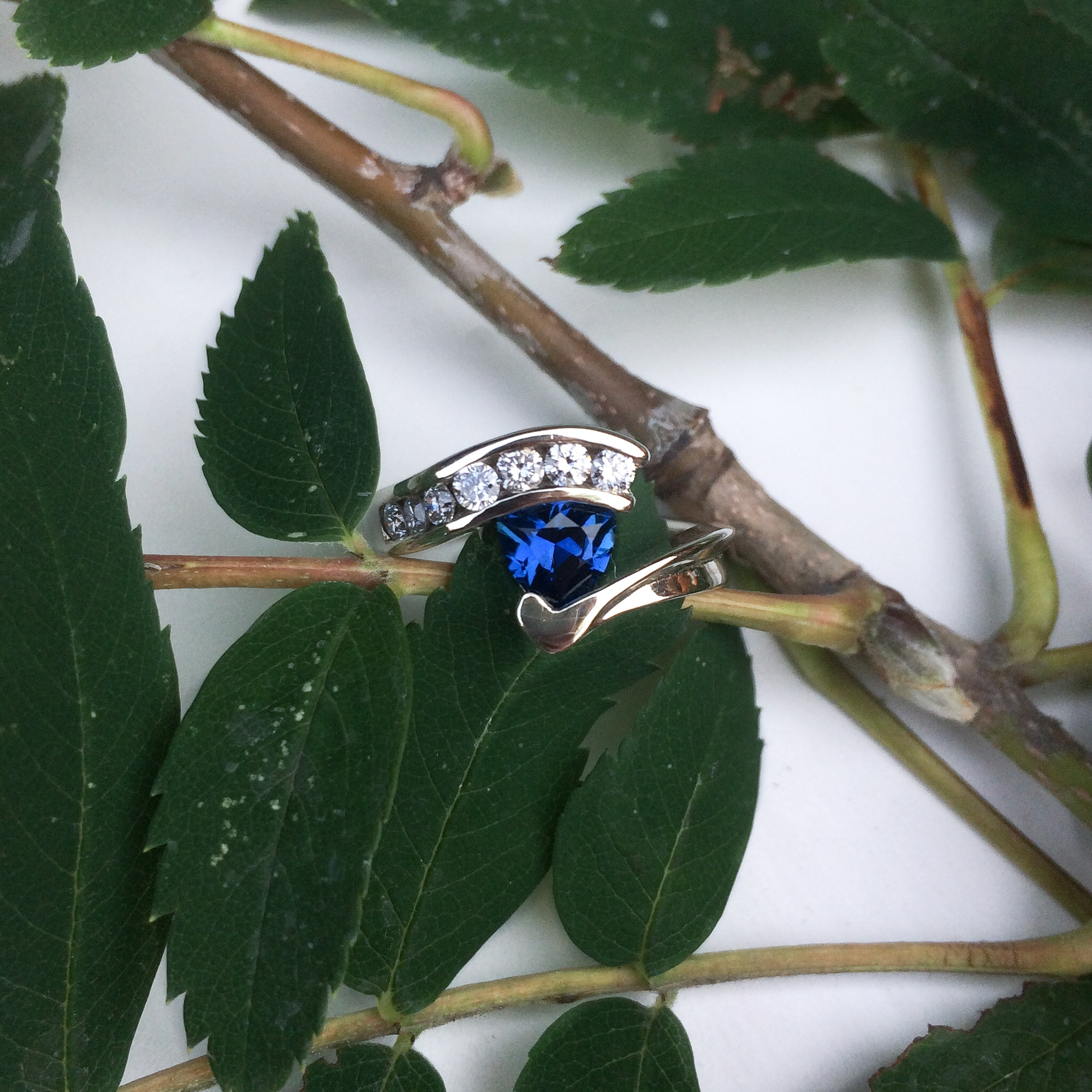 #14823 14k White Gold Stephen Isley Custom Ring Montana Yogo Sapphire .71ct Diamonds .30tcw   Contact Us For Pricing
