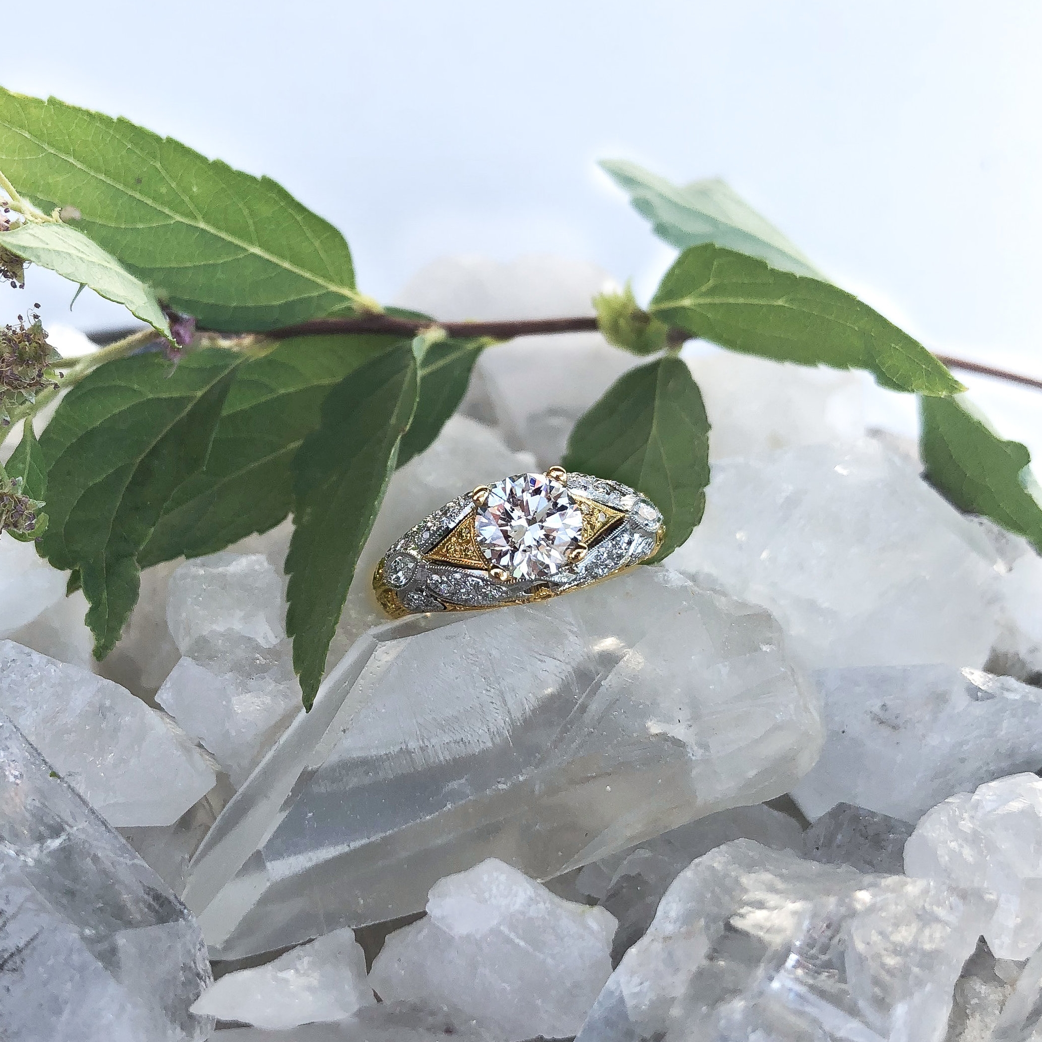 #7632 18k Yellow Gold & Platinum Ring Center Diamond 1.07 SI1 White Side Diamonds .57tcw  Yellow Side Diamonds .30tcw  Contact Us For Pricing