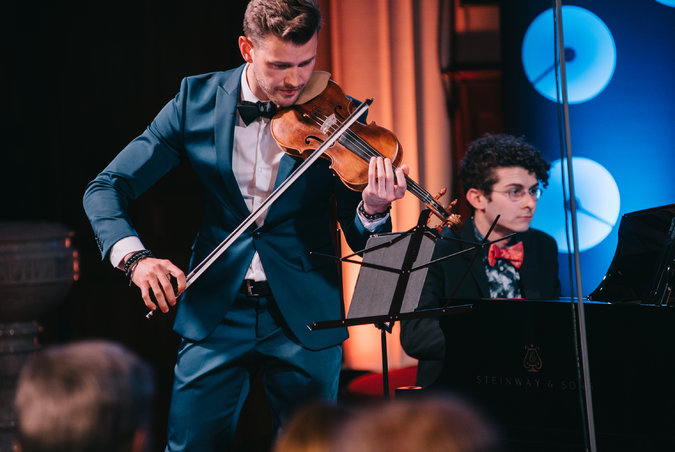 The violinist Filip Pogady and the pianist Robert Fleitz performing at the recent Chelsea Music Festival.