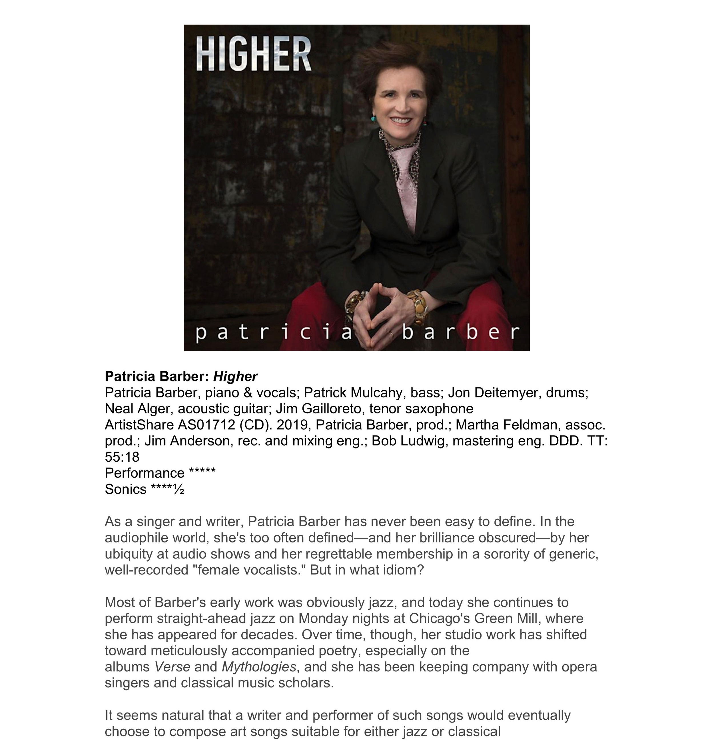 "Patricia Barber's  "" Higher "" is  Stereophile Magazine's Recording of the Month for September 2019"