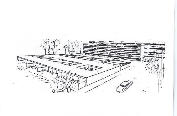 A XEROX OF A XEROX OF A XEROX OF A JACOBSEN SKETCH OF THE ATRIUM HOUSES AT VED BELLEVUE BUGT.