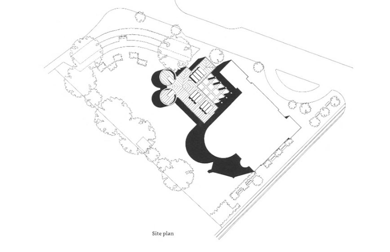 "SITE PLAN OF SKOVSHOVED KIRKE — FROM  ""SACRED BUILDINGS: A DESIGN MANUAL"" BY RUDOLF STEGERS"