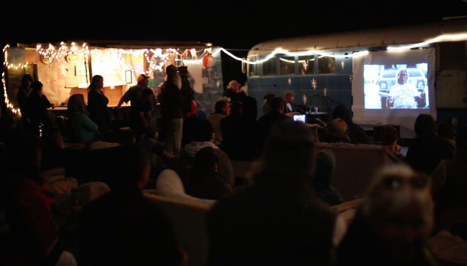 Opening Night of The Picture Show Trailer in Slab City.