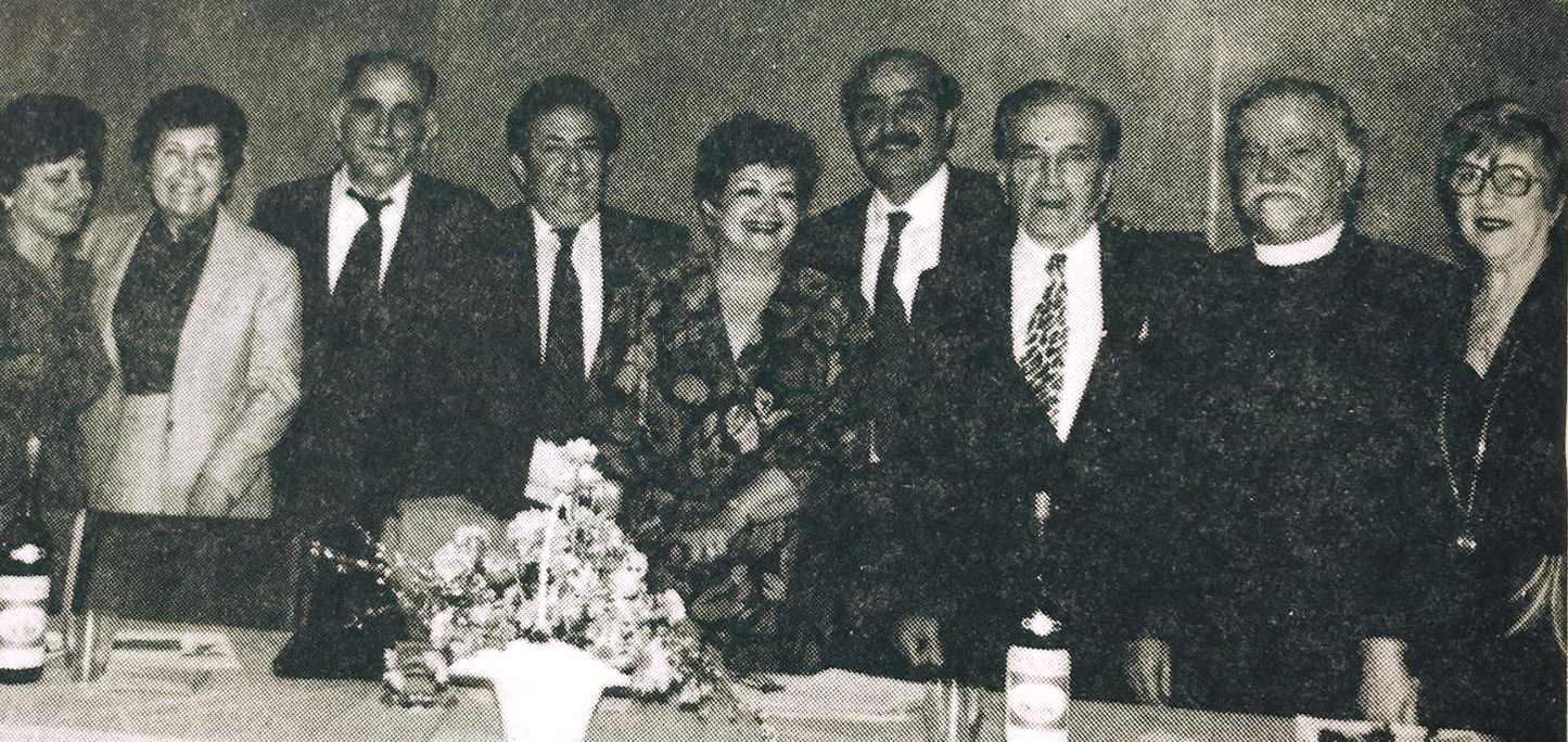 From L to R: Mrs. B. Tutor, Mrs. Kinossian, Mr. G. Kinossian, Mr. M. Nalbandian, Mrs. Hovnanian, Mr. Hovnanian, Mr. A. Tutor, and Reverend and Mrs. Shirinian