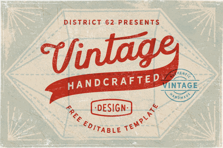 free, vintage, retro, label, logo, template, script, typography, font, weathered, grunge, textured, sign, stamp, frame, diamond shape, banner