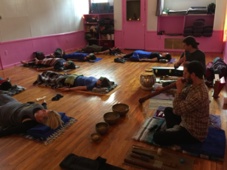 Lev Natan and Eric Archer provide the healing sounds at an Acupuncture Sound Bath.