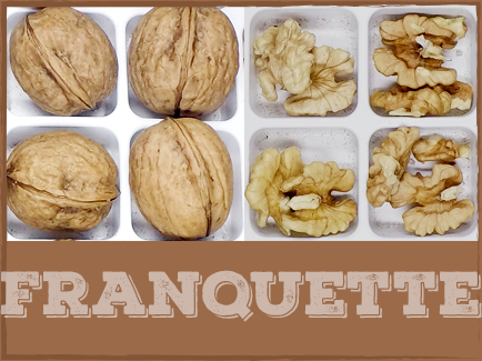 FRANQUETTE  Franquette walnuts are harvested very late in the season with little susceptibility to spring frost damage. They produce quality thin-sealed shells and light kernels. Franquette walnuts require little pruning and can be used as a pollinizer for Chandler and Hartley varieties.