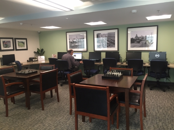 A business center and library is just one of the new additions in the many common areas at Westminster Manor.
