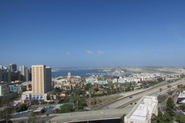 A view of the San Diego Bay from one of the  Westminster Manor  rooms.