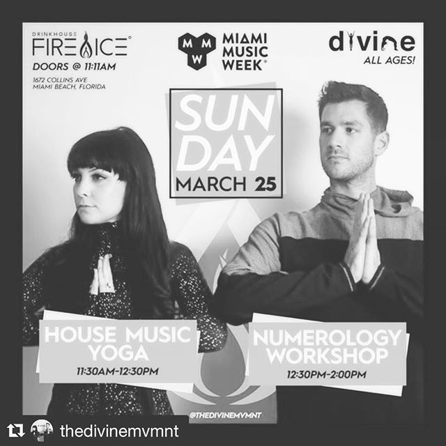 Doors open in one hour! Limited tickets avail!  #yoga starts at 11:30a! #numerology At 12:30p! grab them now! #Repost @thedivinemvmnt with @get_repost ・・・ Miami Music Week, we are coming back!  Join our movement on March 25 @icebarmiami for House Music Yoga and Numerology - ALL AGES! Tickets available at sobefireice.com • #TheDivineMovement #MMW #MMW2018 #YogaInMiami