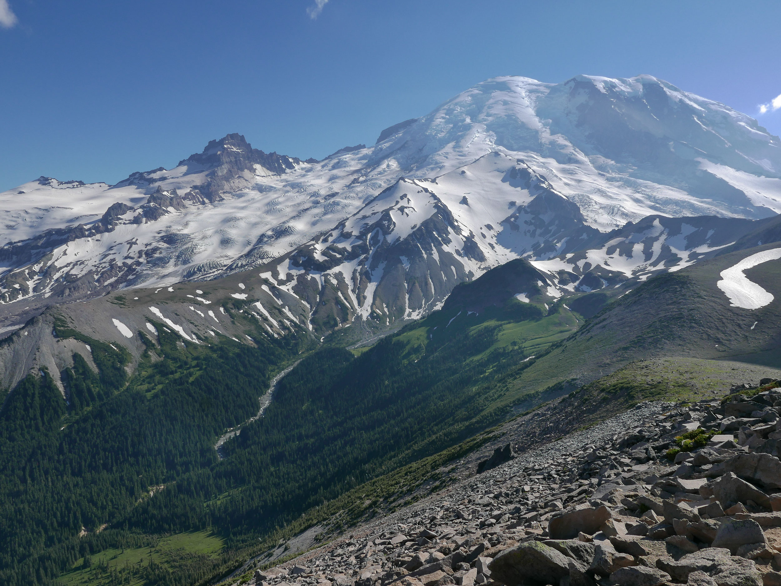 Little Tahoma Peak and Mount Rainier from Second Burroughs around 5:30 PM on Tuesday, July 25.