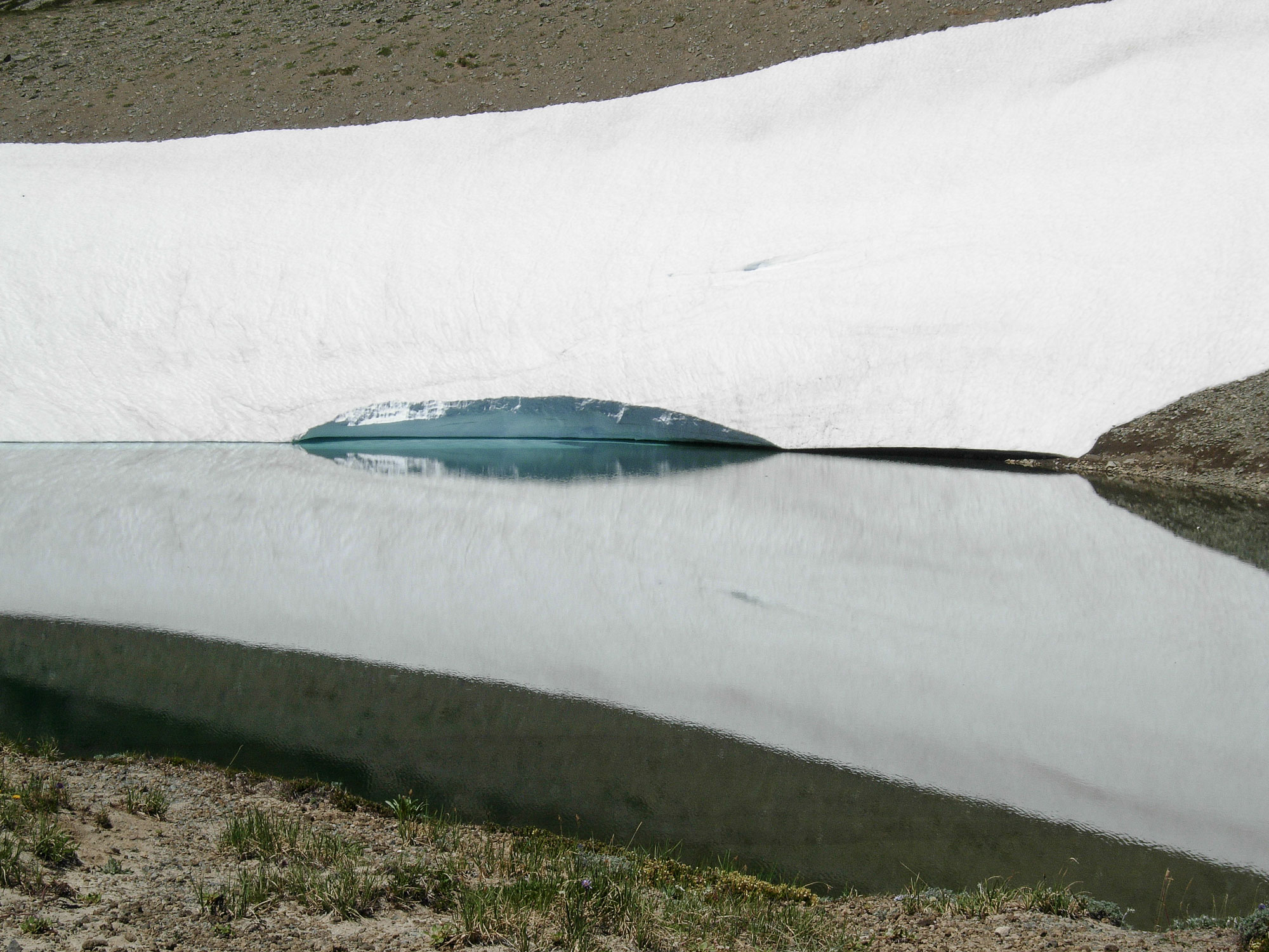 A remnant snowfield on Frozen Lake. July 2006.
