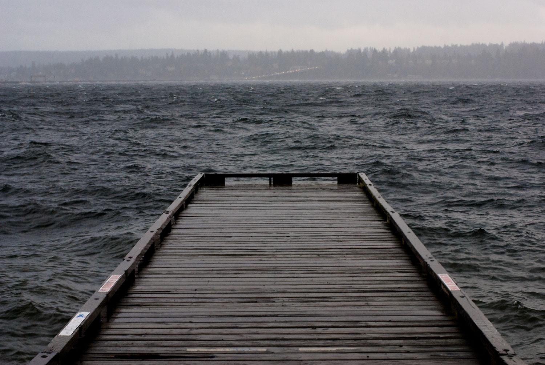 Dock, winter storm