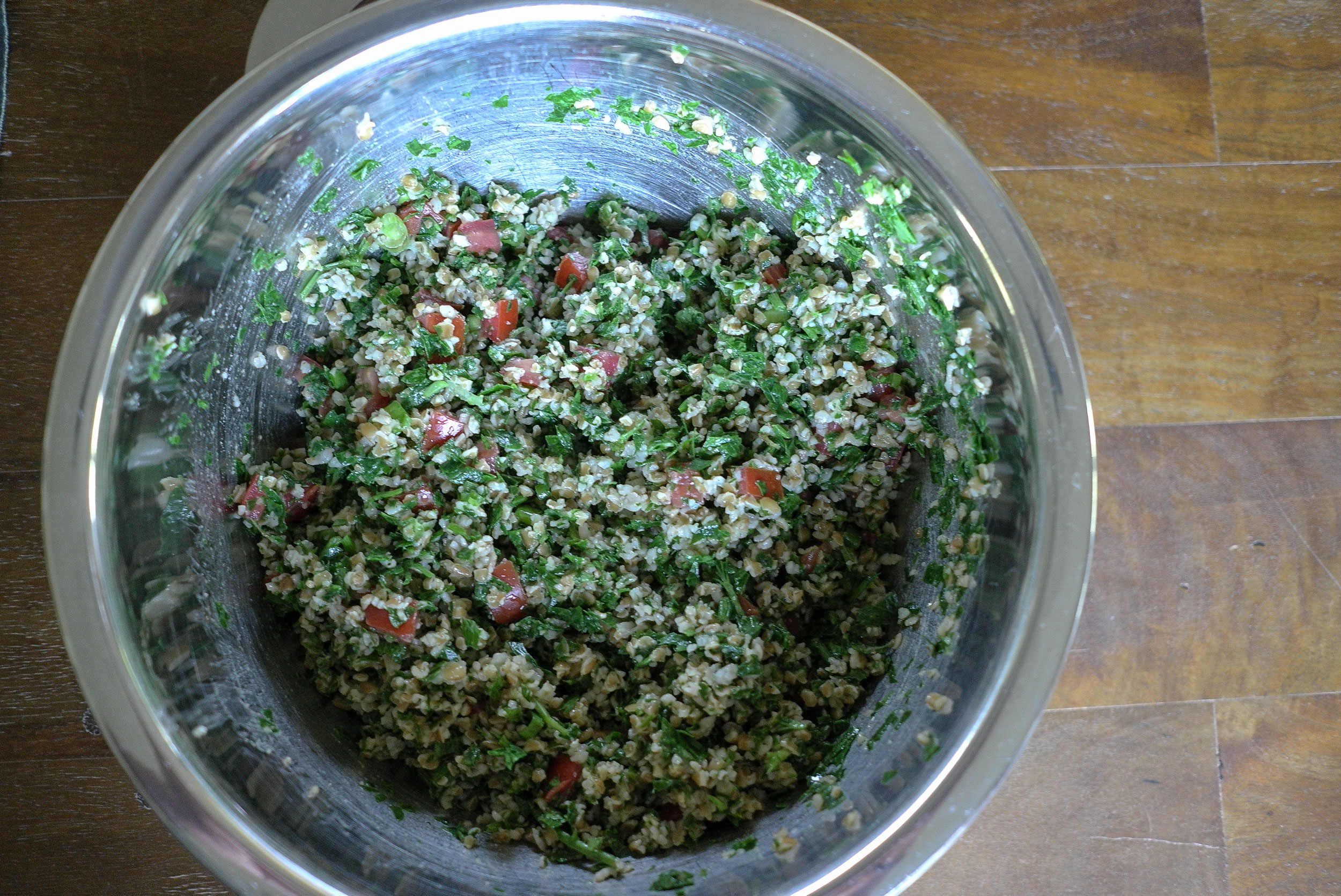 Tabouleh salad made with homegrown ingredients.