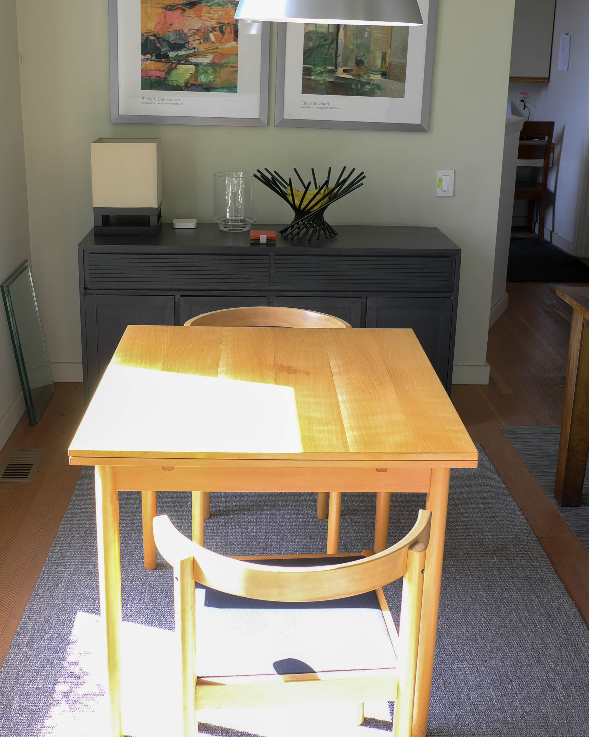 Center table surface sanded bare and refinished, May 2019.  Click to enlarge.