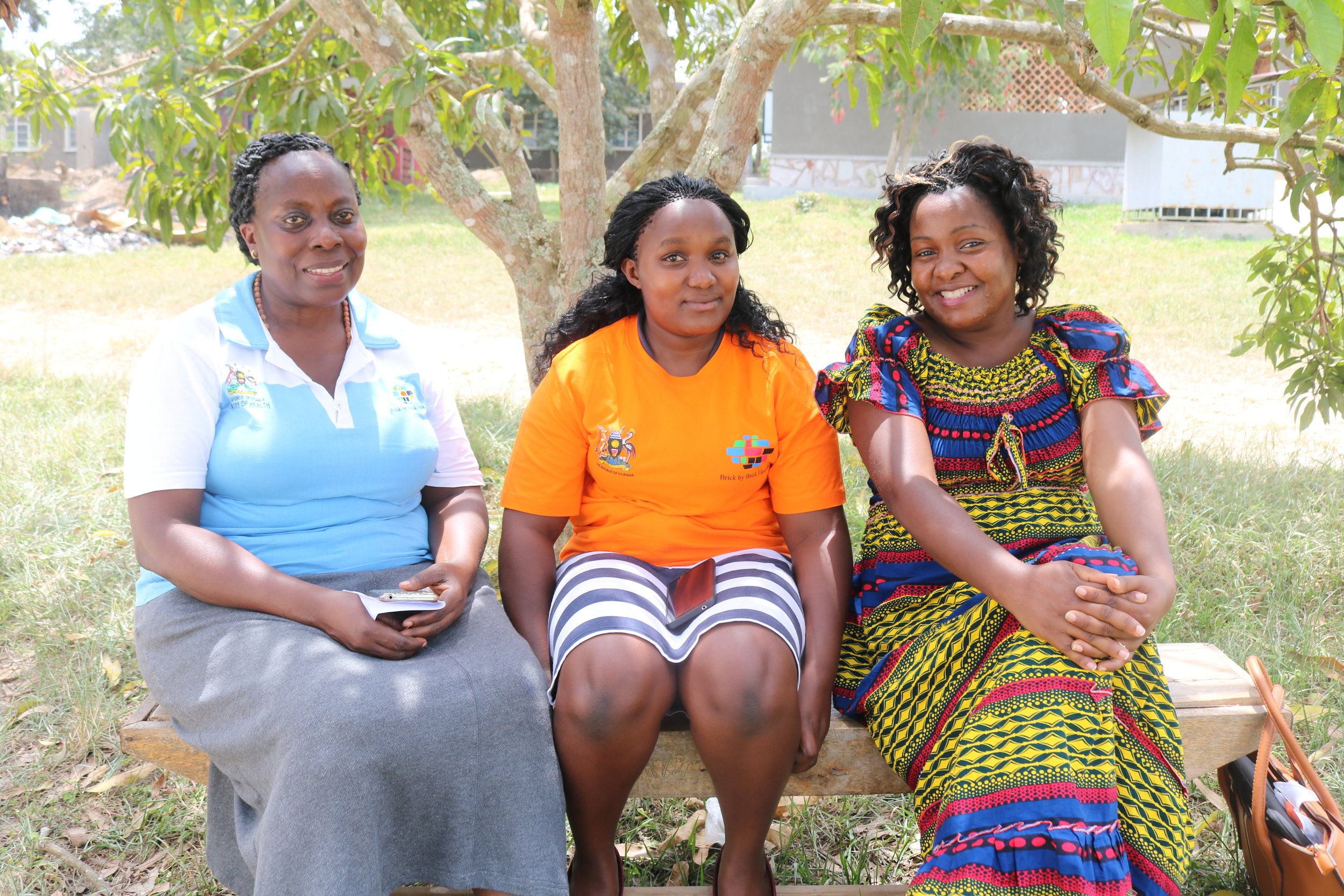 BAMA Senior Midwife Assumpta Mubiru, Linda, a local midwife and Dr. Eleanor Nakintu