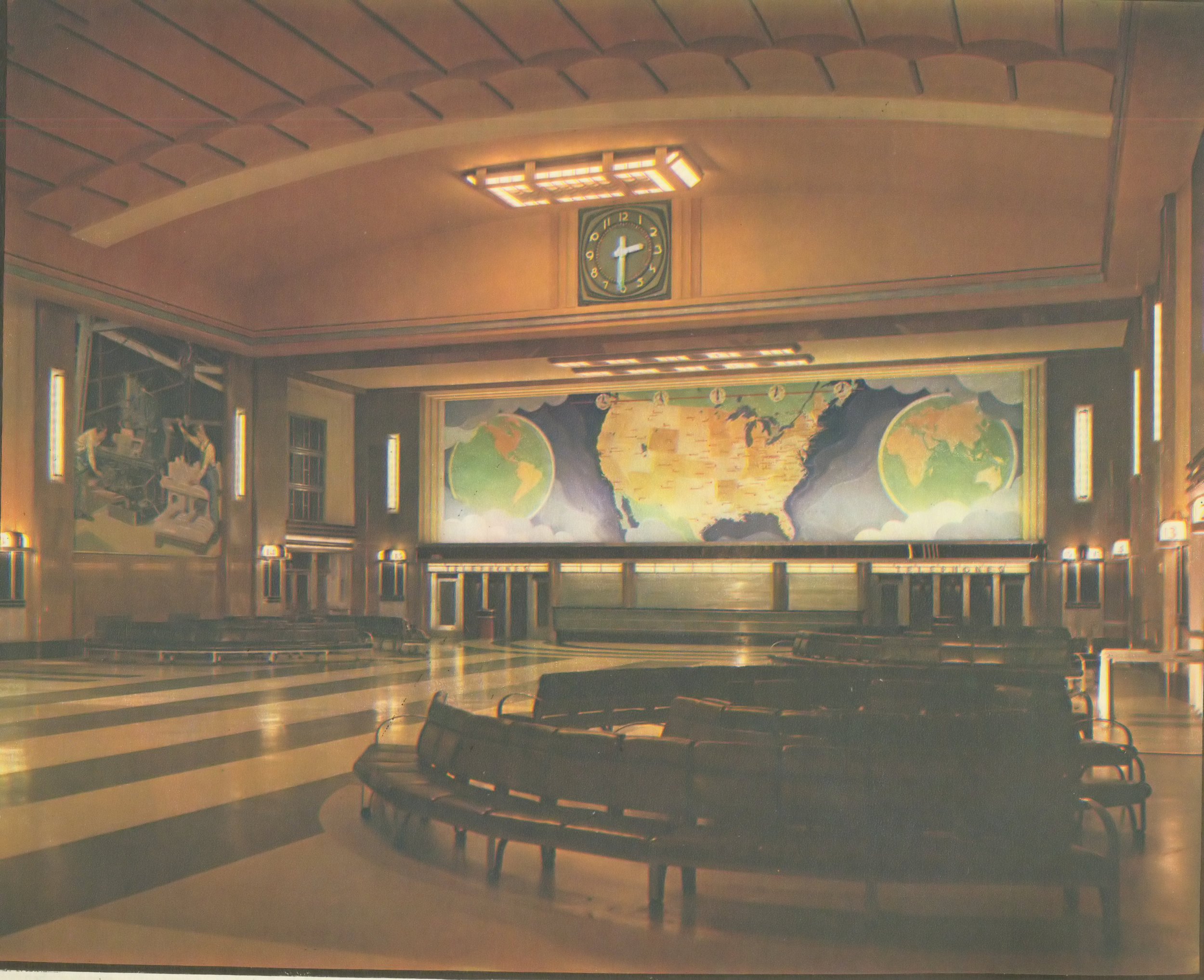 Lunch counter and map mural