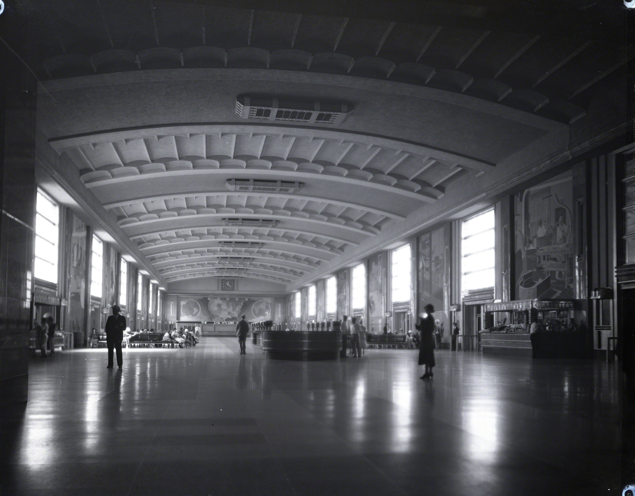 Historic reference - Besides the blue prints, historic photos of the concourse were used to interpret the complex shapes in 3D space.  But also to confirm the design as sometimes things are built a bit differently then how they were planned.  These photos also help with understanding the materials and lighting