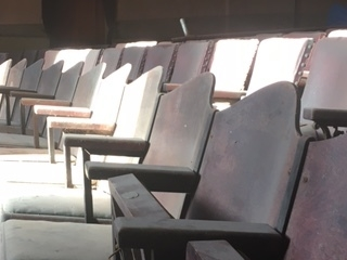 Sunlight on old theater seats