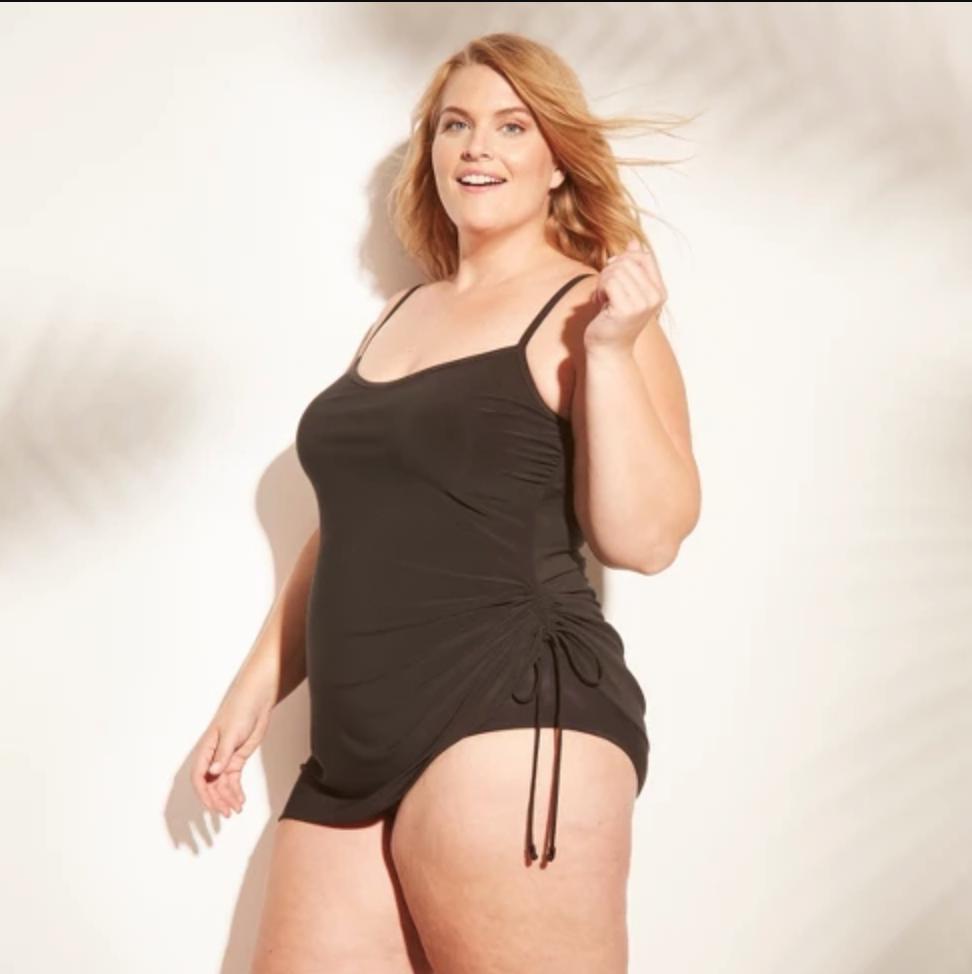 Cute black one piece plus size swimsuit