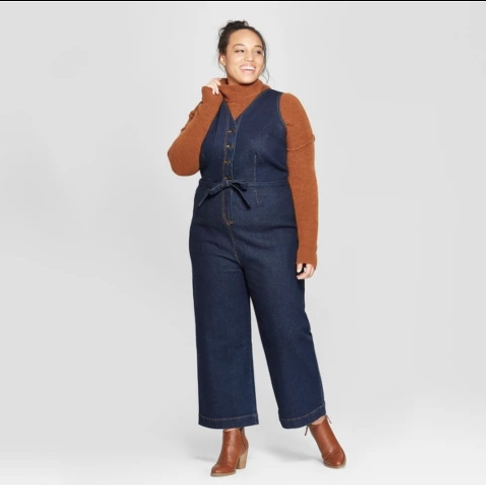 Women's Plus Size Button Front Jumpsuit with Belt - Universal Thread™