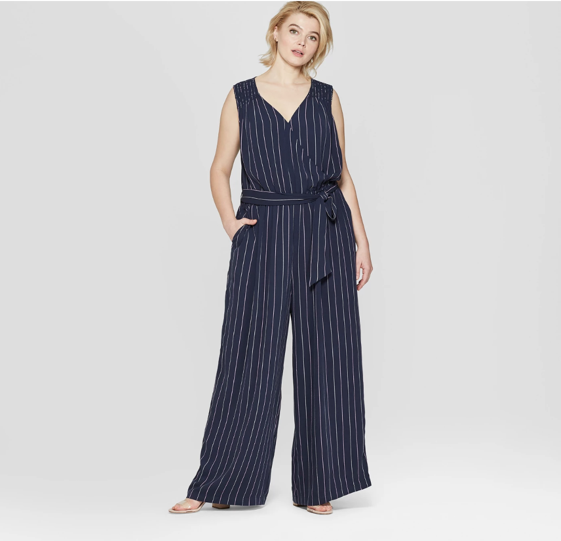 Women's Plus Size Striped Sleeveless V-Neck Woven Jumpsuit - Ava & Viv™ Navy