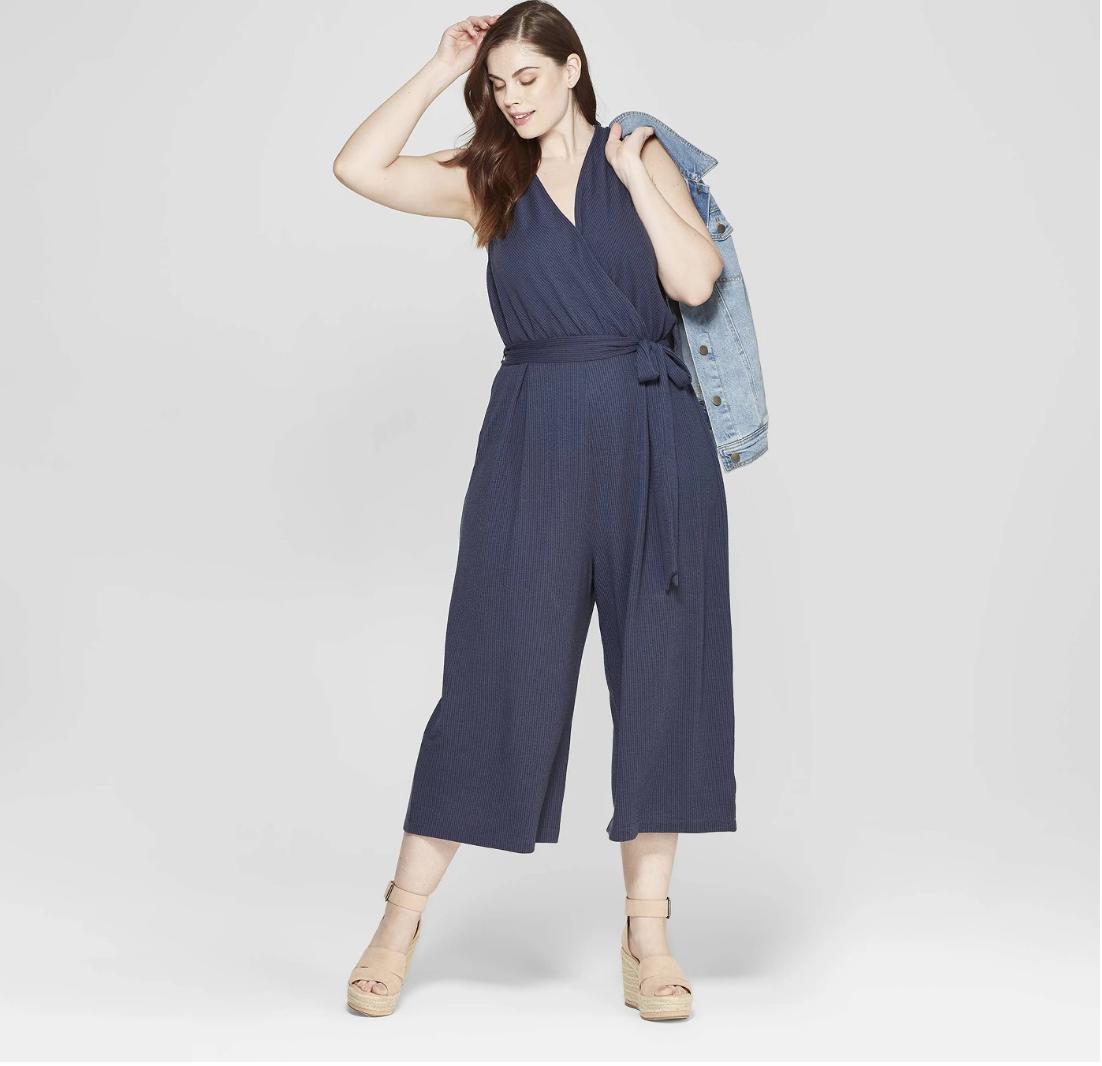 Women's Plus Size Sleeveless V-Neck Jumpsuit - Universal Thread™ Navy
