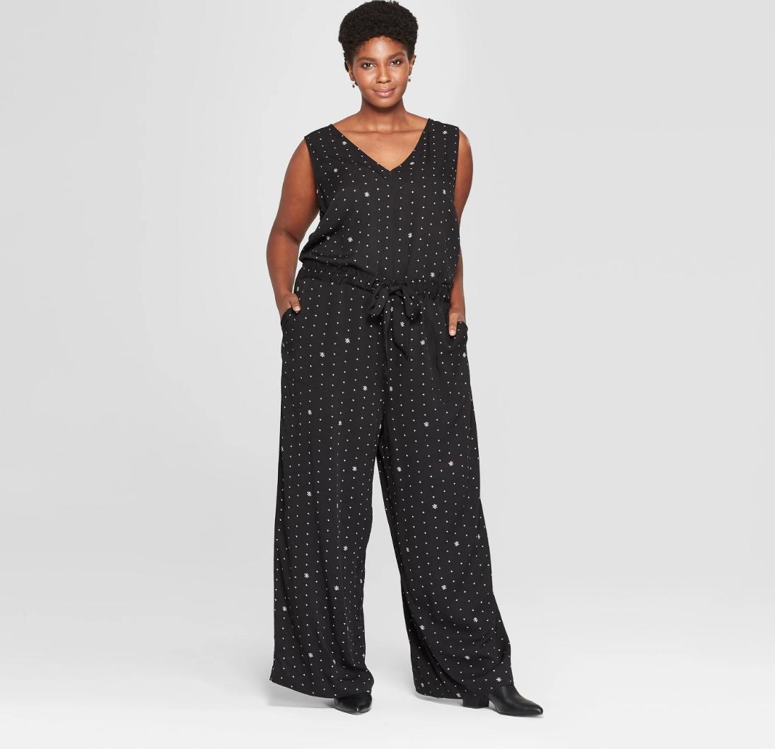 Plus size printed  black jumpsuit