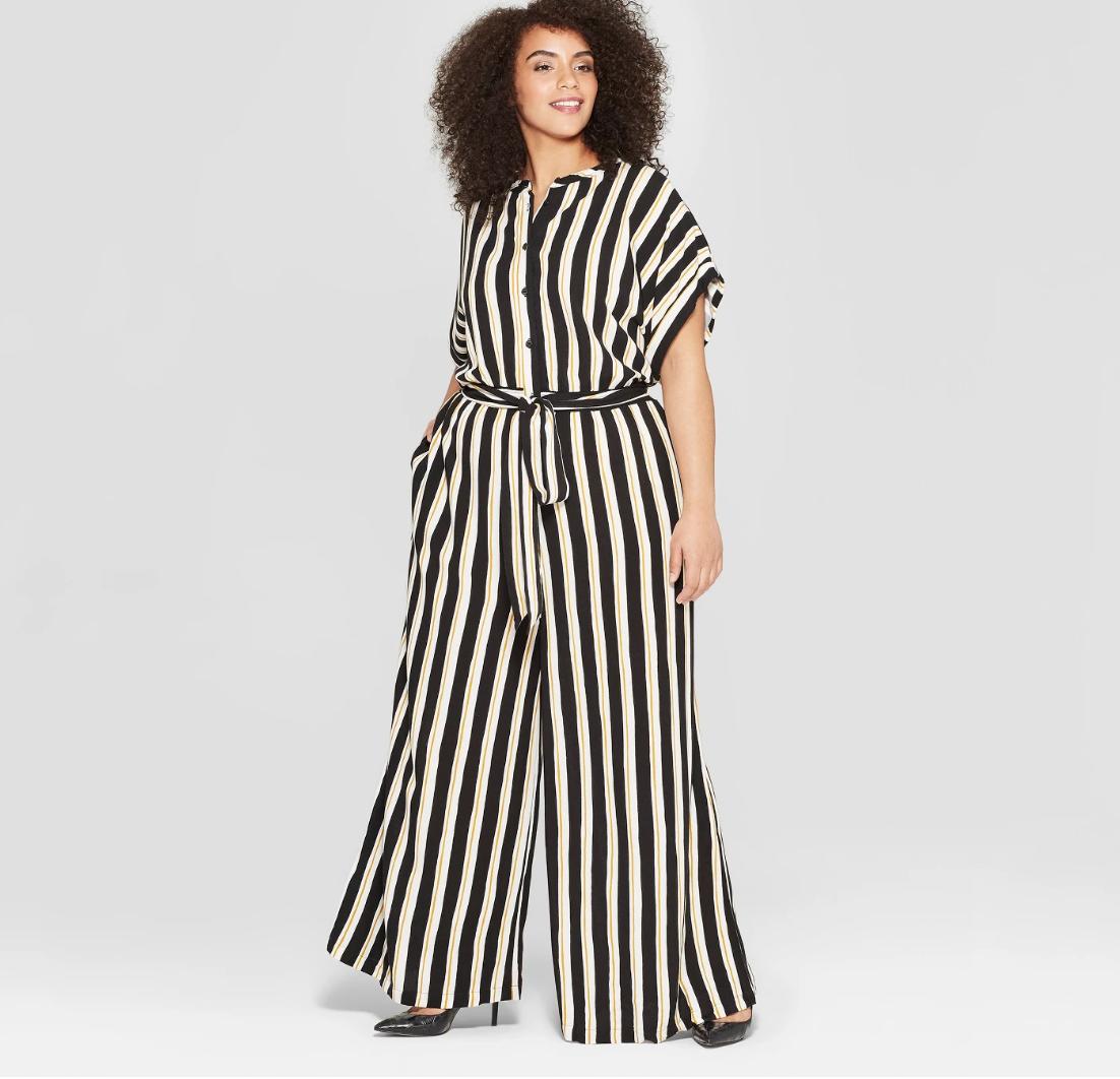 Plus size striped short sleep jupsuit