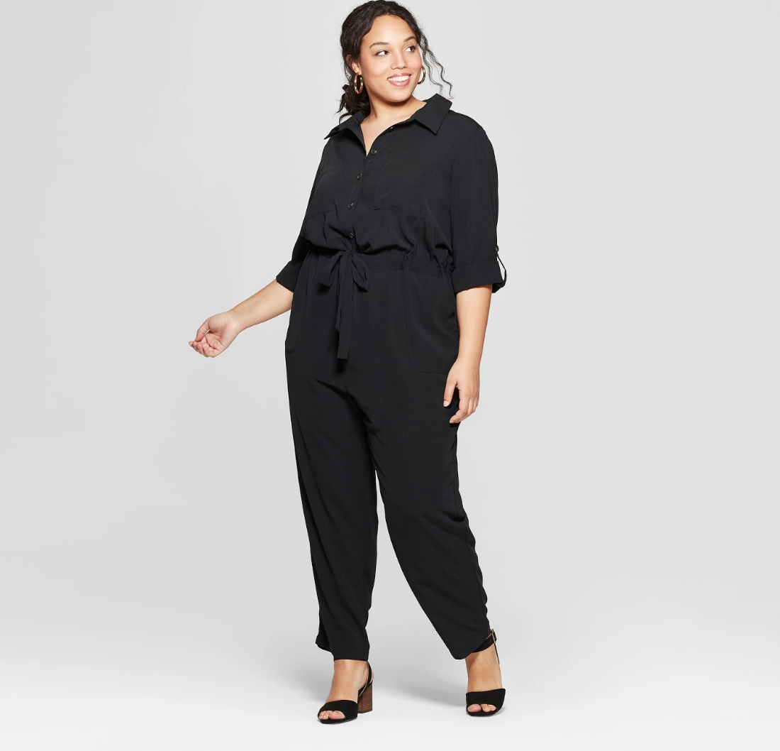 Black tapered plus size button front jumpsuit