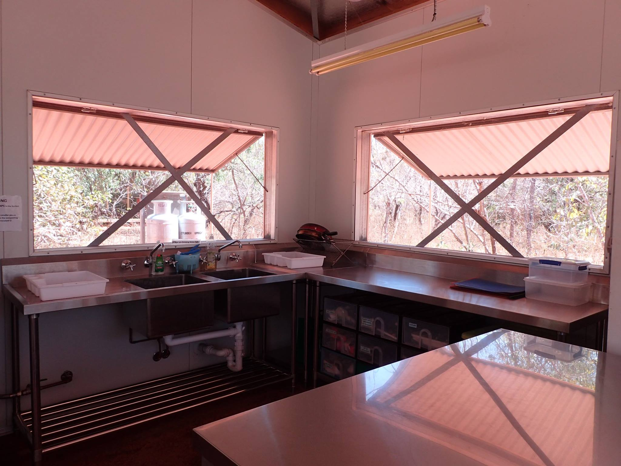 Our lovely new benchtops, sink and cabinets thanks to the Shire of Broome!