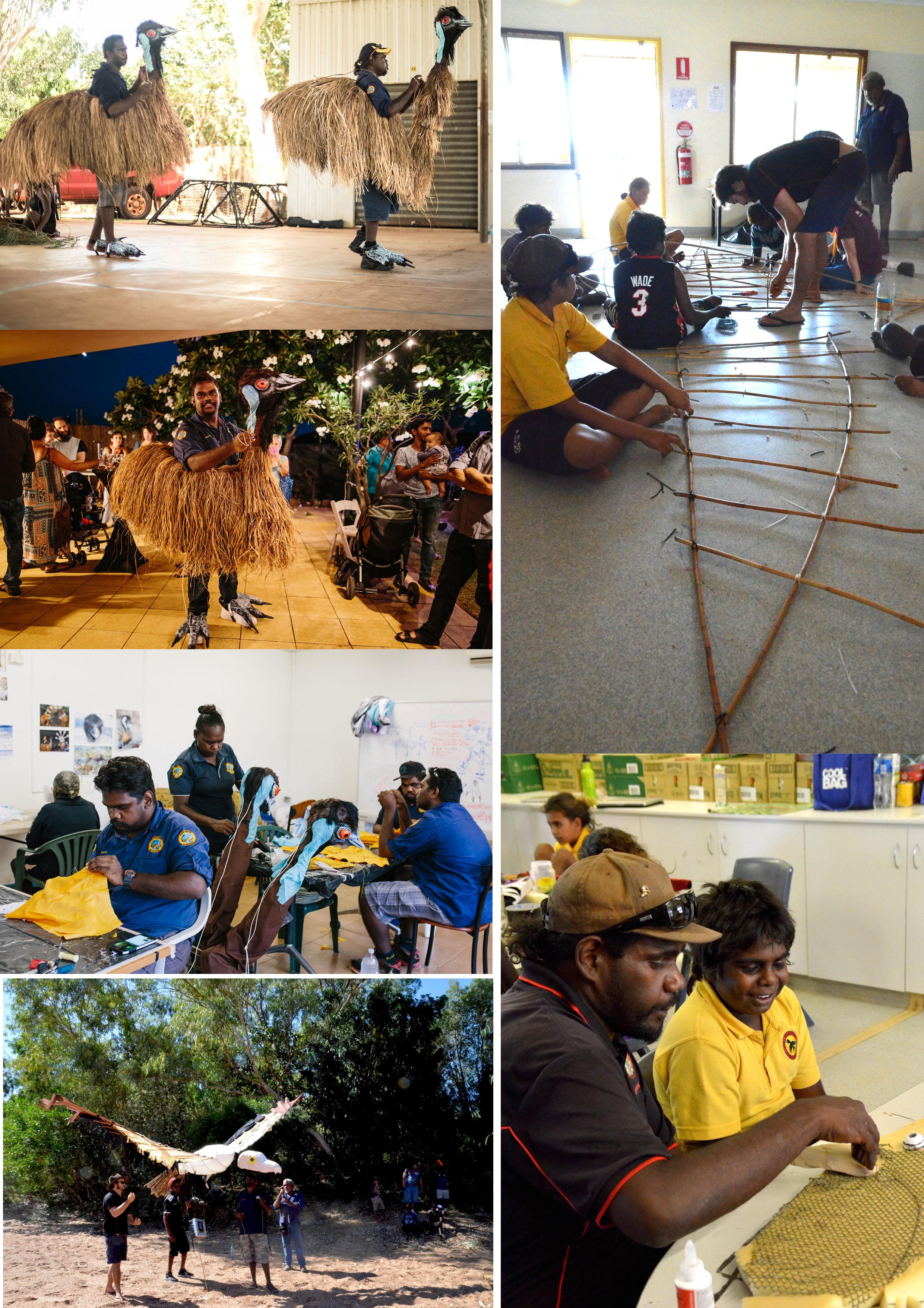 Photo ©Designer/makers/puppeteers - Karajarri (emus) and Goonyandi rangers(eagle)   Project Coordinator/facilitator/puppetry designer - Bernadette Trench-Thiedeman