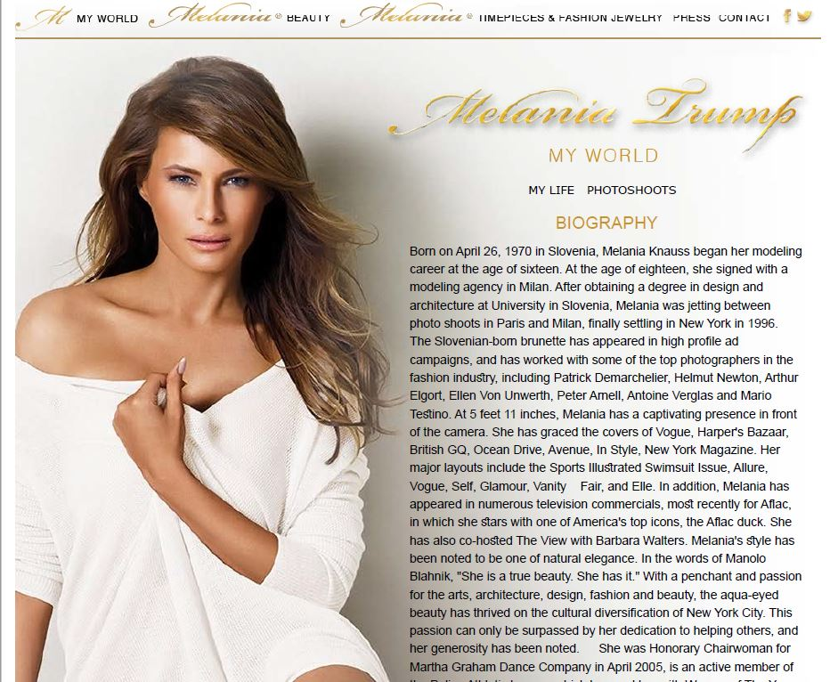 Melania Trump's website, online since spring 2006, was completely deleted on or around July 27, 2016. Article:  Melania Trump's Website, Biography Have Disappeared From The Internet