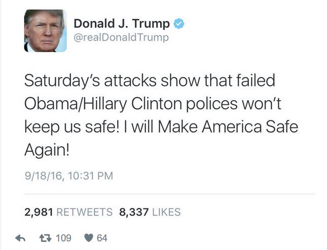 Trump's take on the bombings in Manhattan and NJ. Article:  Trump Deletes Tweet Hitting Obama, Clinton Over Weekend Attacks