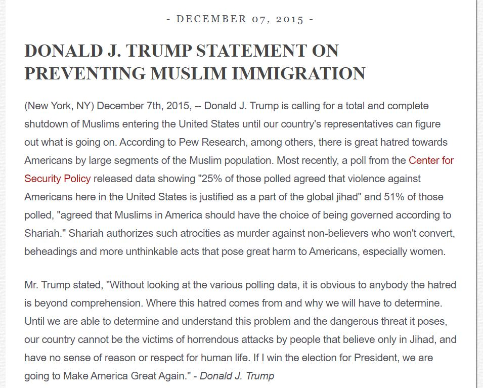 Deleted sometime between November 5-9, 2016 [ Article ] After this was reported in the press, this document was restored to Trump's  website  [ Article ]