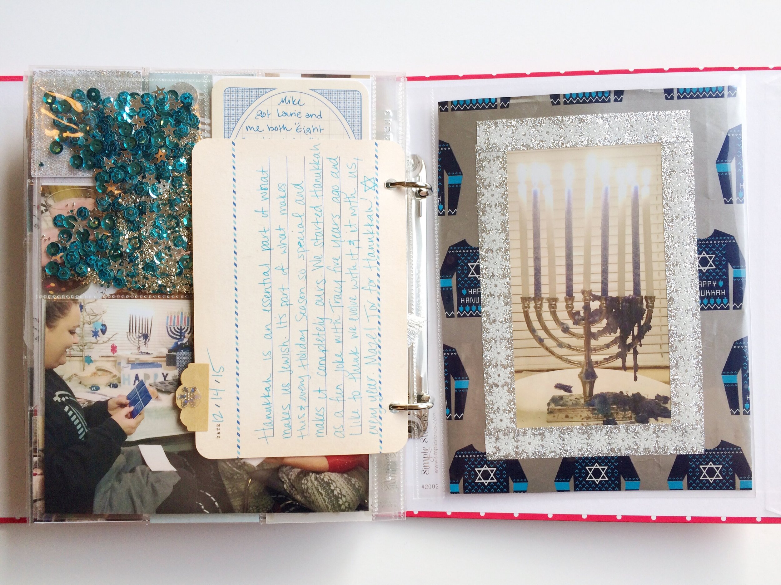 I punched holes in a 4x6 journal card and added it in as a place for Laurie and I to both share some of the reasons why we love Hanukkah.
