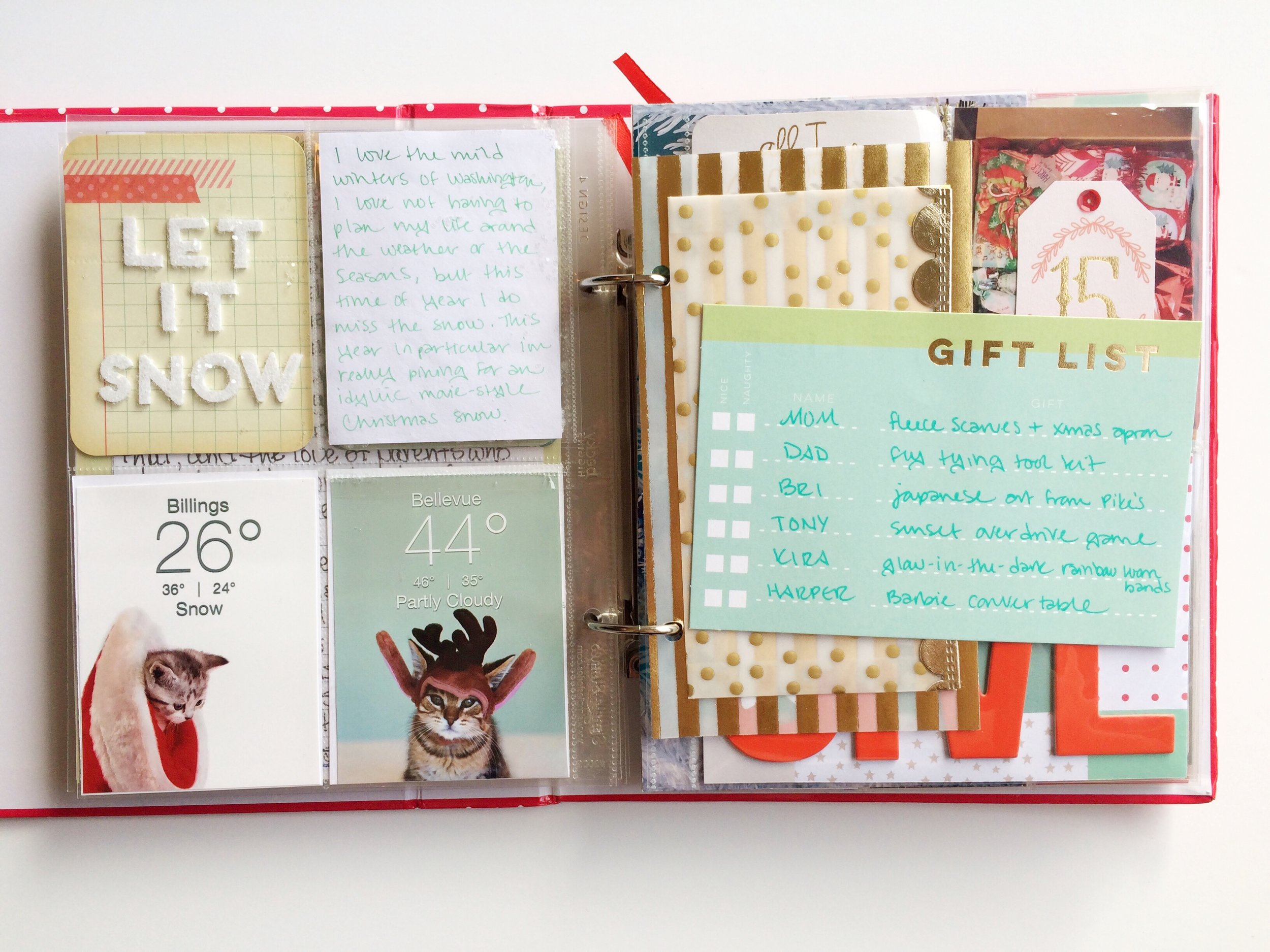 I also added another flip up pocket to journal under. The glitter on the front side is glued on for the most part, but being able to seal it into a contained pocket is a nice assurance that the whole album wont be covered in glitter with one wrong move. I also used a Studio Calico 4x6 journal card to make a list of the bigger gifts I sent to my family. The flip side is the same thing but with gifts for my boyfriend and bestie.