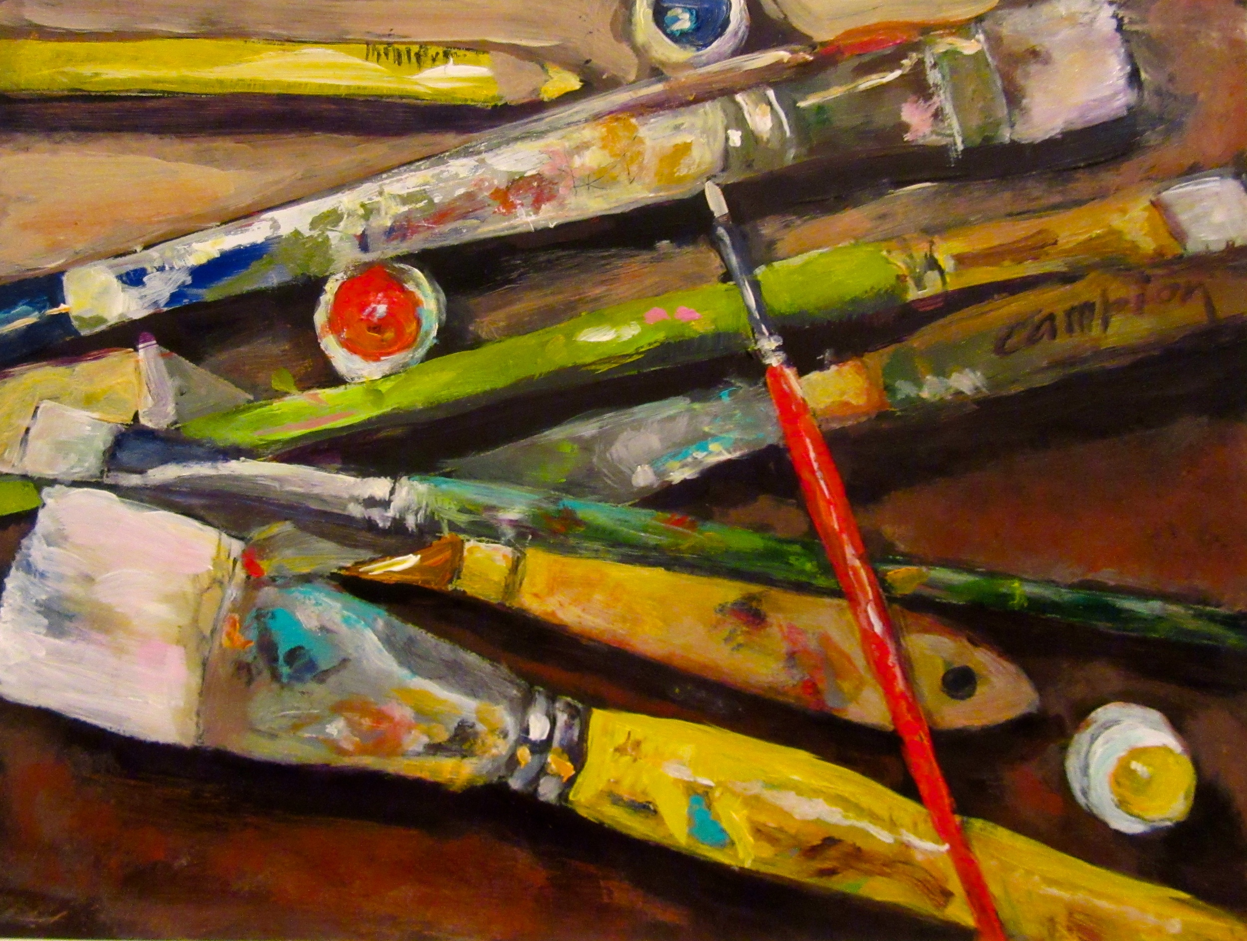 """""""Tools of My Trade"""" to celebrate my 500th daily painting."""