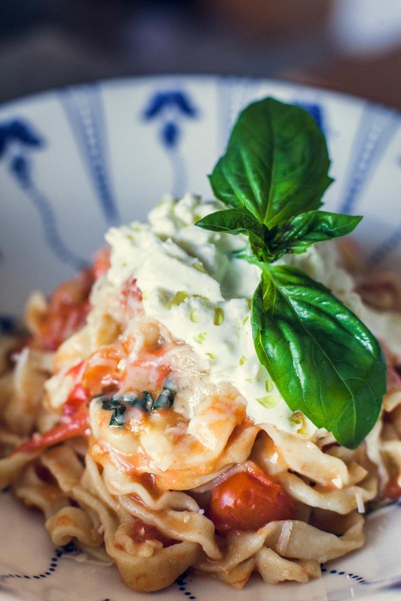 tagliatelle with pomodorino & stracciatella sauce
