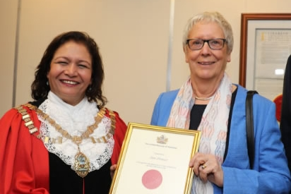 Local Heroes - We were very chuffed that Jan Preece, our Chairman (aka Top Dog) was presented with an award at the LB of Hounslow's Volunteer and Community Group Recognition Reception in May 2017. Nominated for this by Councillor John Todd, the presentation was made by the retiring mayor, Councillor Ajmer Grewal. These awards are given to 'groups or individuals who go the extra mile for their community' and Jan was pleased to receive it on behalf of the Dog Show Committee.