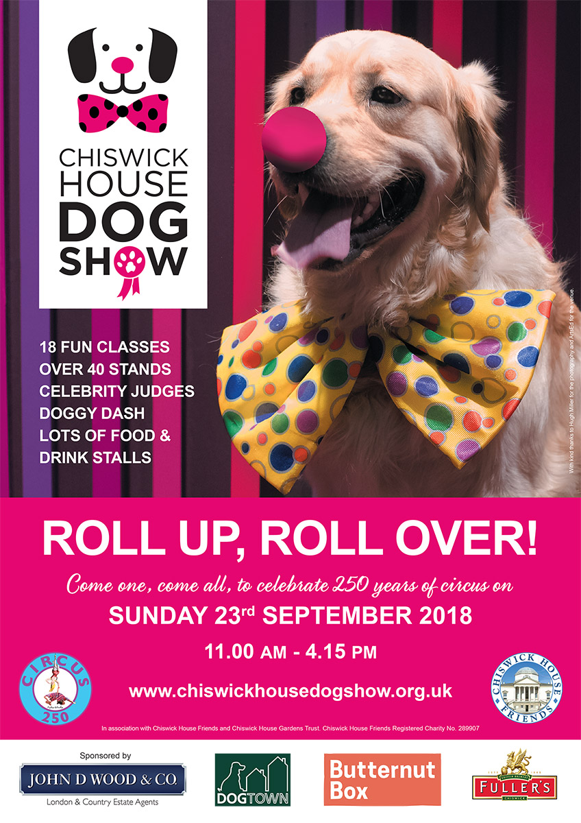 Roll Up, Roll Over! - The poster boy for 2018 is Mylow, who found his new home with a local family via The Dog's Trust Rehoming Parade at the Dog Show in 2016. We are very grateful to Hugh Miller who patiently photographed Mylow and to ArtsEd for allowing us to use their theatre as the setting. It was a fun morning for all of us, but mostly for Mylow given the quantity of treats he enjoyed trying to be persuaded to wear the big bow-tie and not eat it!