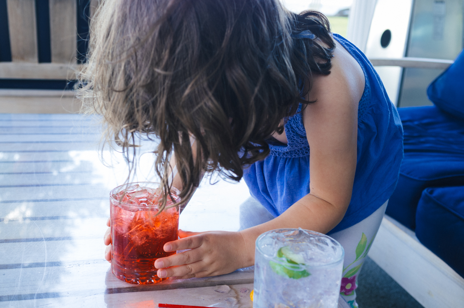 We gave Chelsea a Shirley Temple. Surprisingly she's not that into them. This was her first and only sip.