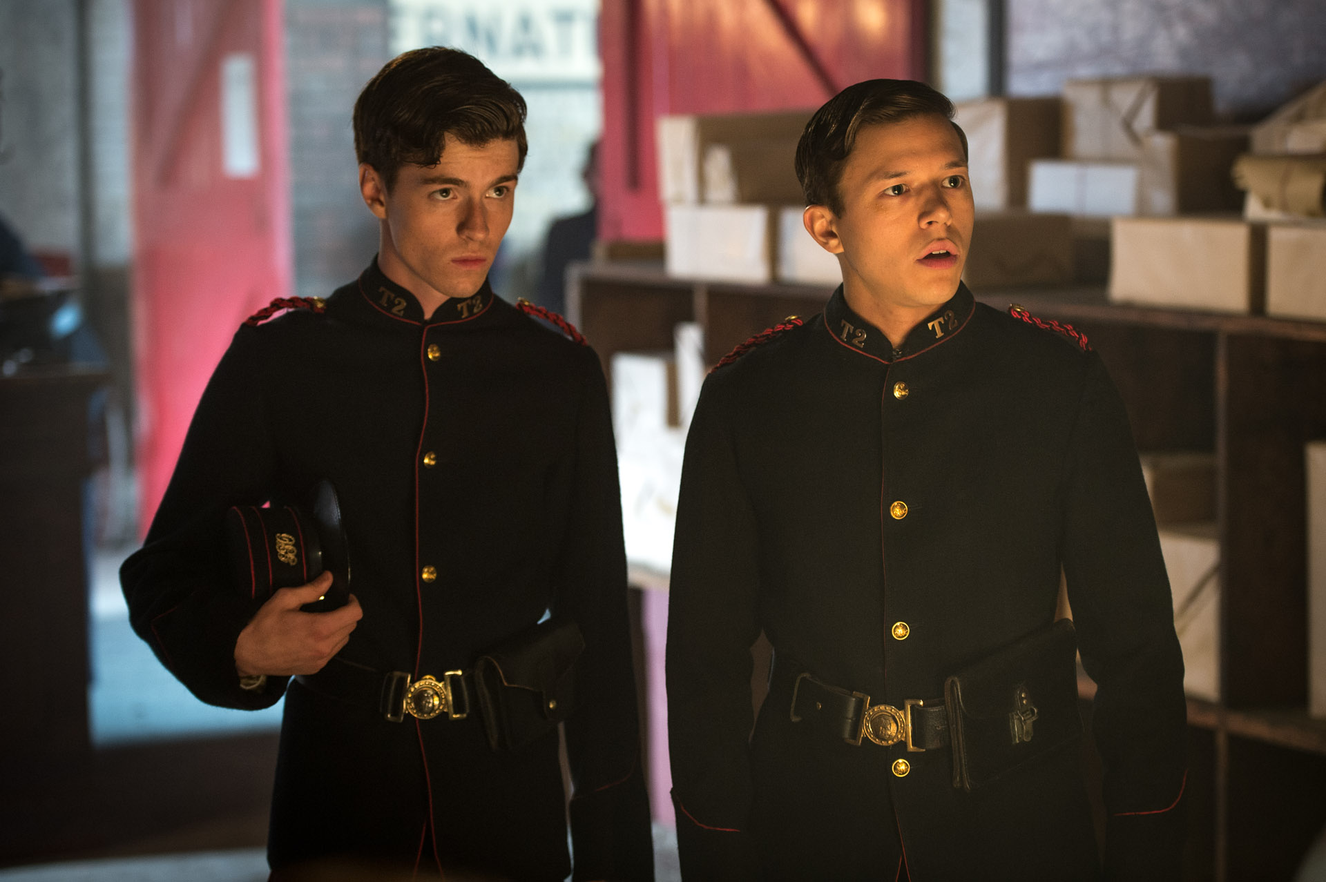 As Vincent Featherwell in RIPPER STREET. Alfie Stewart (left).