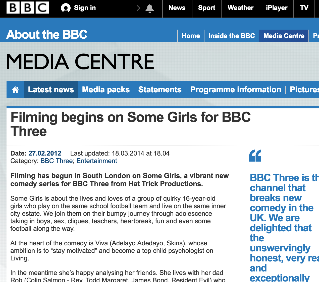 BBC3: Some Girls