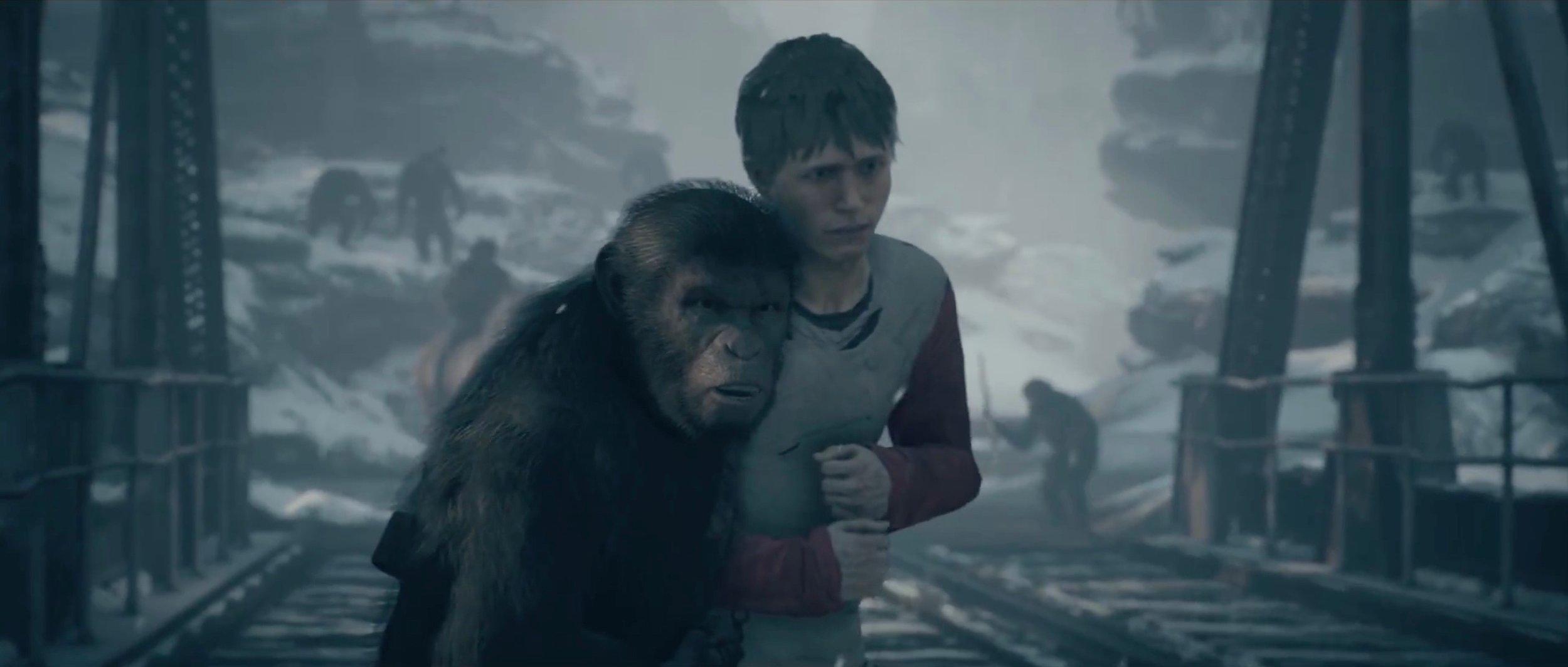 Neil Newbon as ape Bryn and Jassa Ahluwalia as Mark Ross