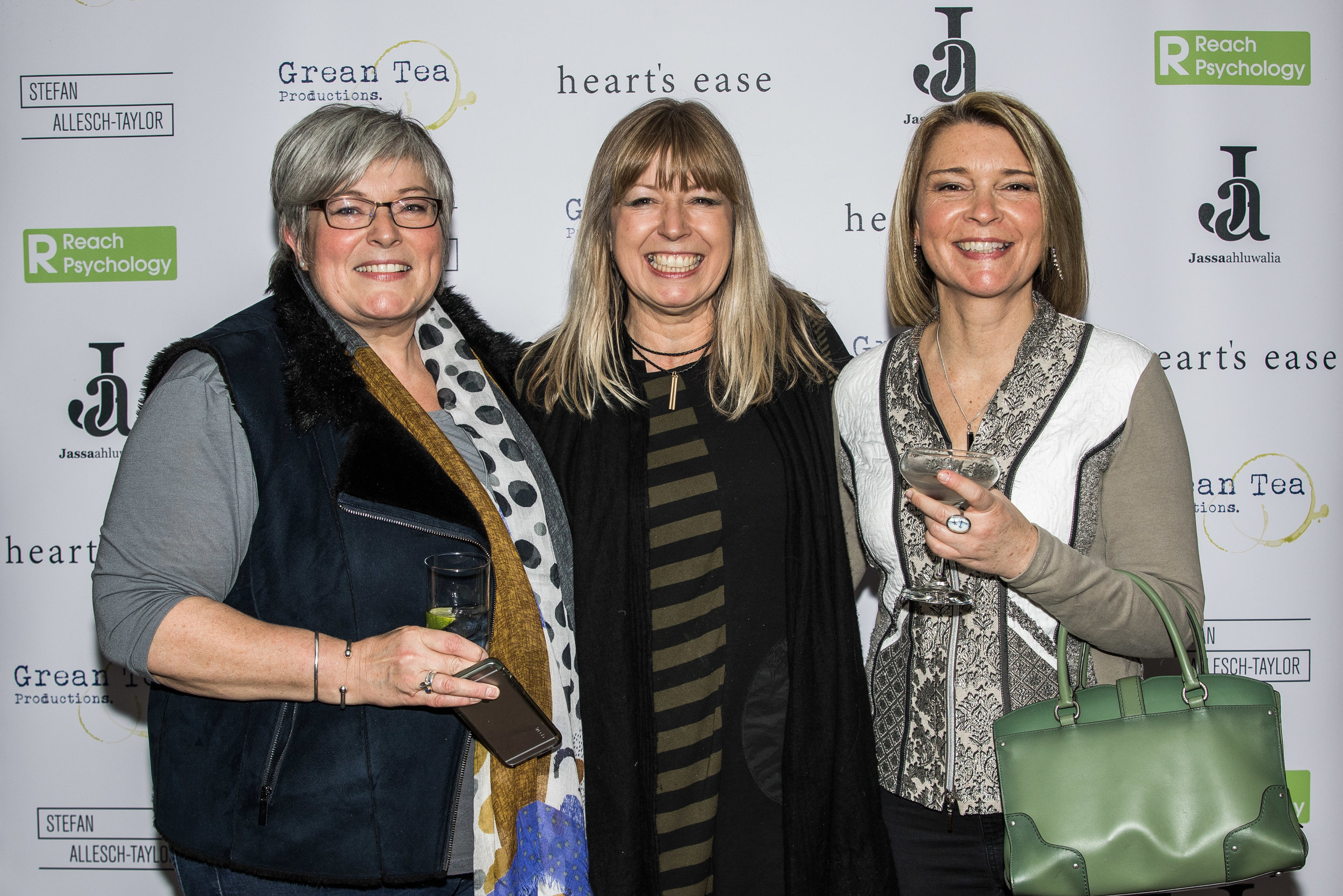 Alice Blount, Sarah Ahluwalia and Christie Mountford attend the cast and crew screening of Heart's Ease.