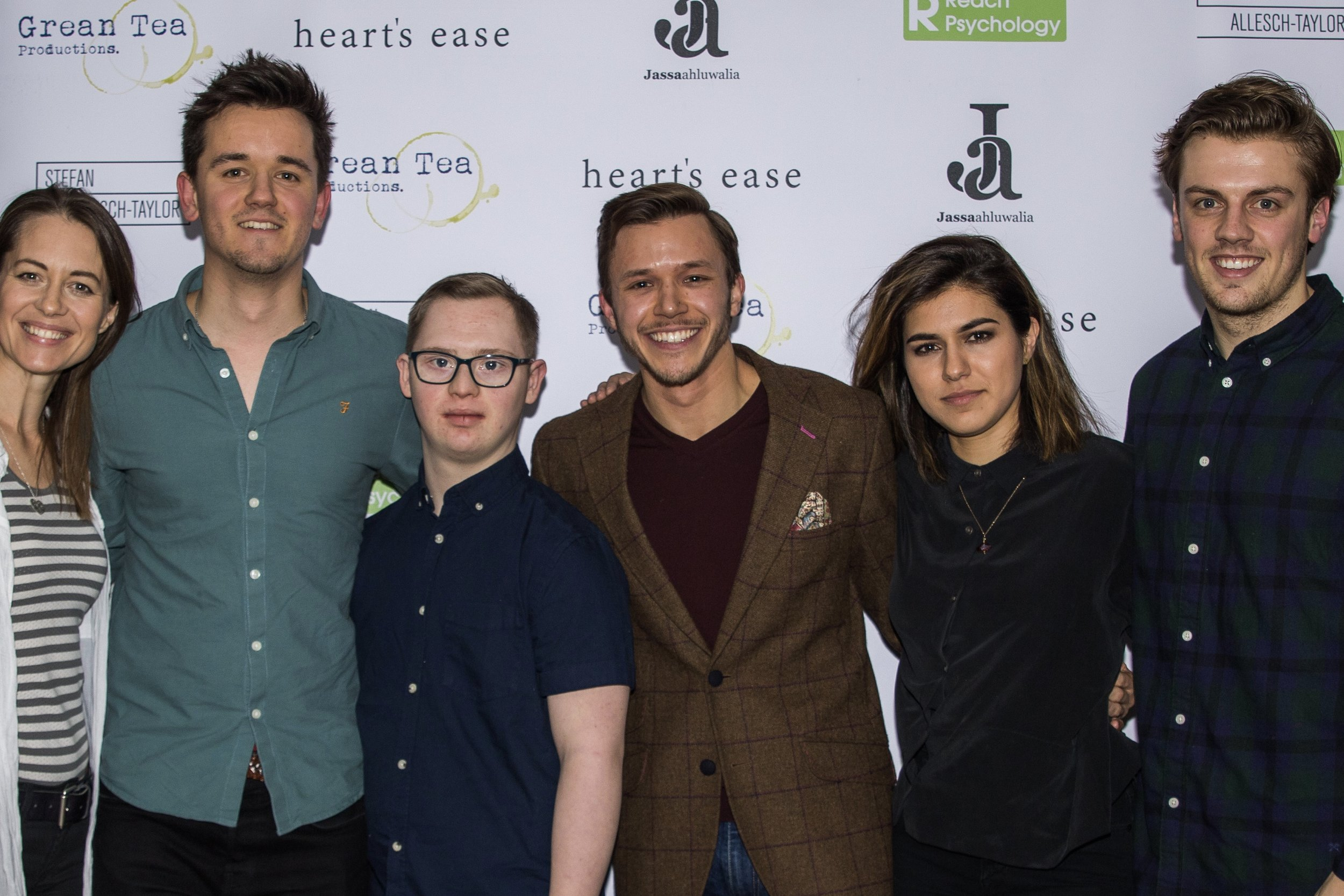 Kezia Burrows, Olly Fawcett, Tom Dann, Jassa Ahluwalia, Ramanique Ahluwalia and Matthew Marrs attend the cast and crew screening of Heart's Ease.