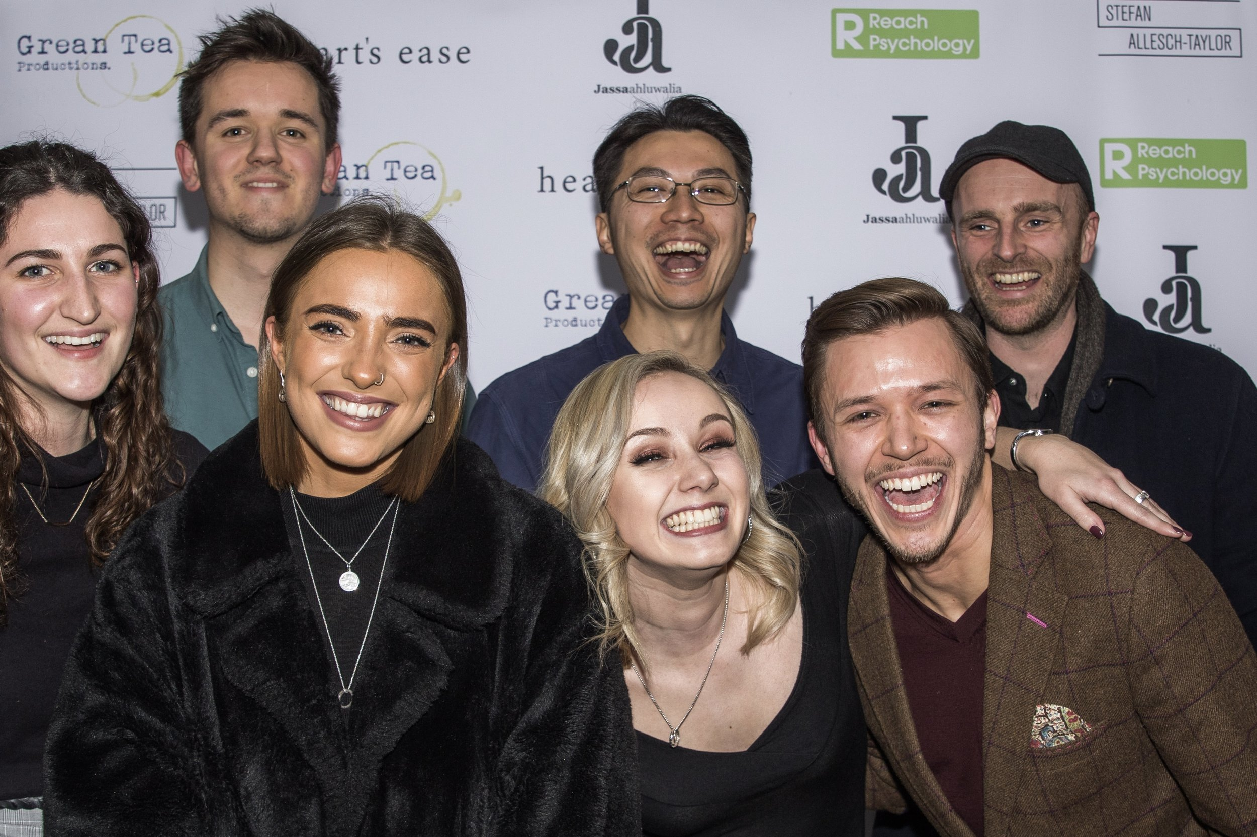 Olly Fawcett, Christopher CF Chow, Matthew J Smith (back), Nina Harding, Cecily Mitchell, Annie Botta and Jassa Ahluwalia attend the cast and crew screening of Heart's Ease.